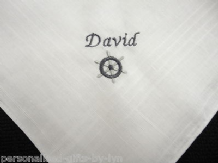 Personalised Handkerchief with Boat Wheel design.